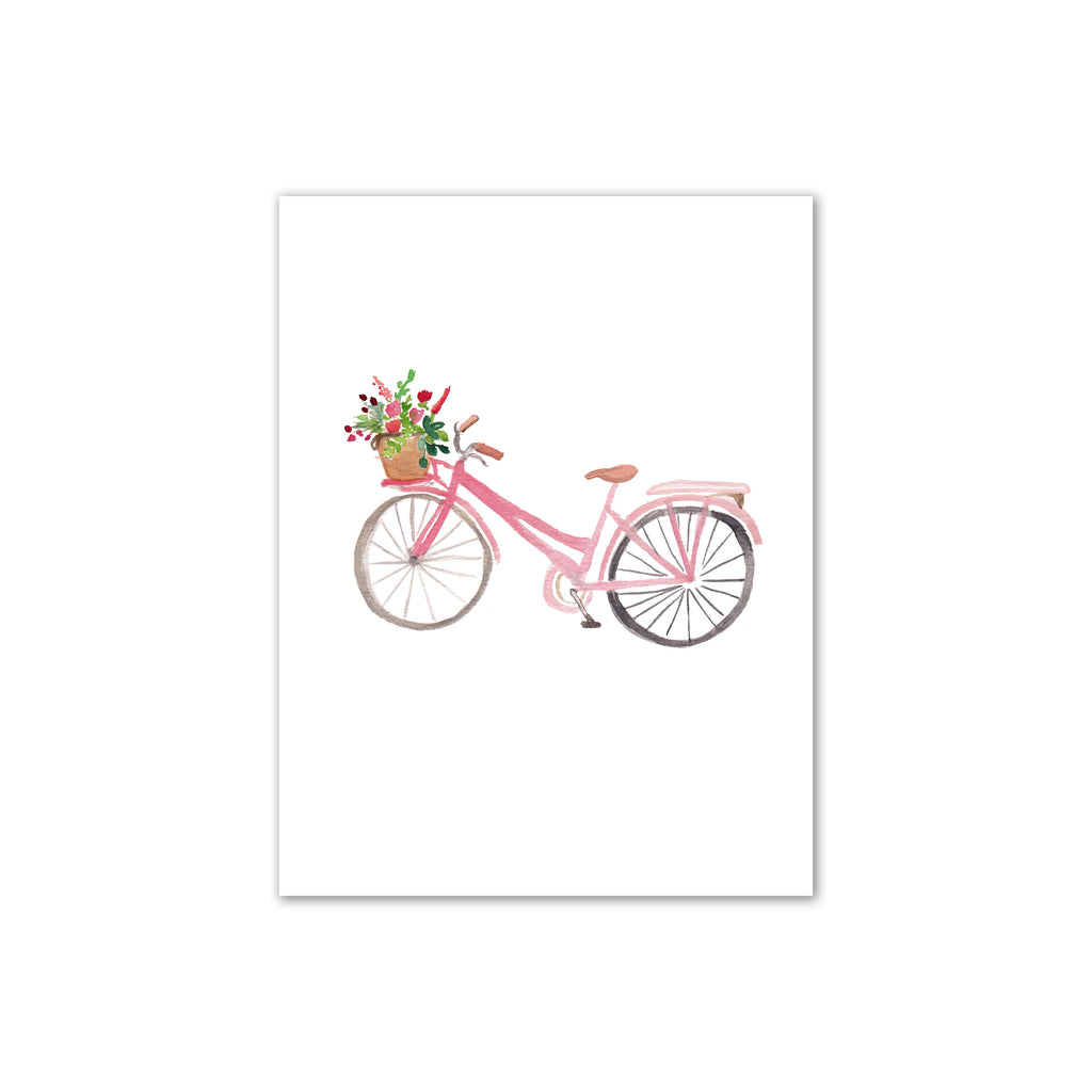 Pink Bike Watercolor Print