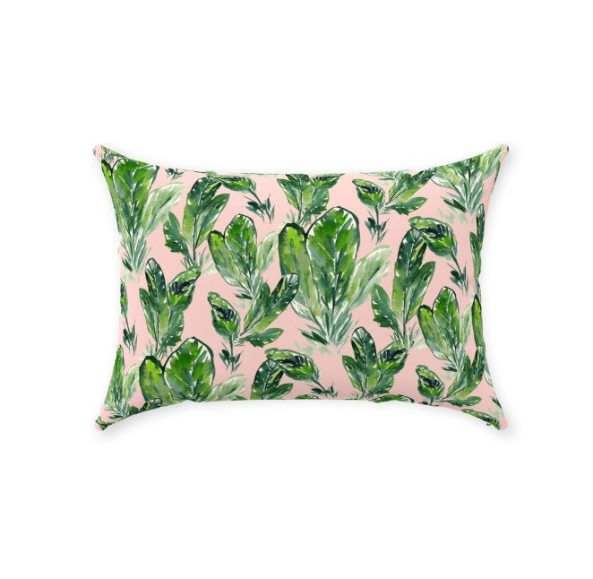 "Pink Palm Pillow 14""x20"""