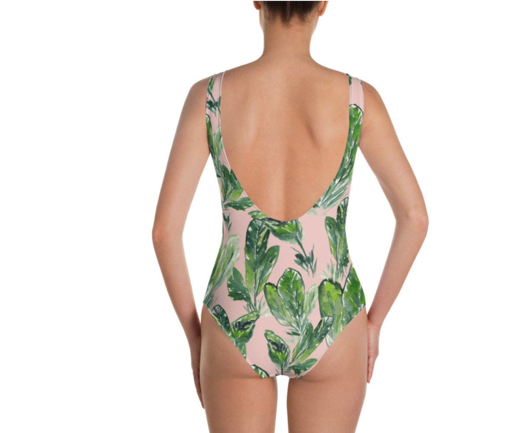 Pink Palm One-Piece Swimsuit