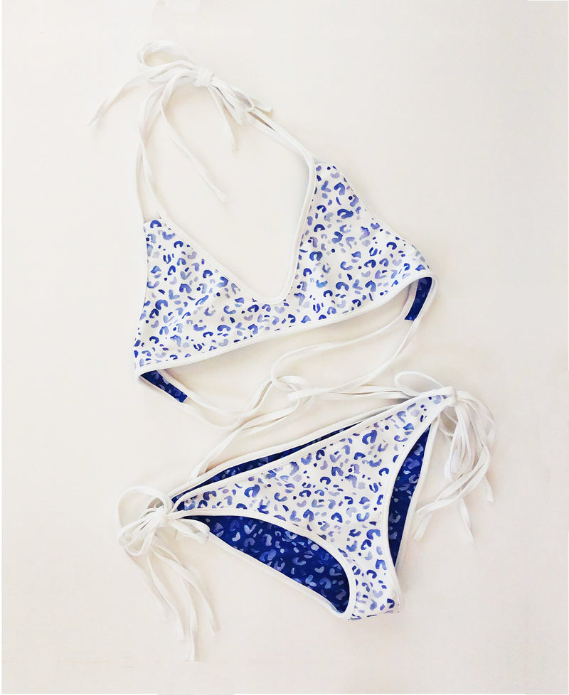 Blue Leopard Two-Piece Swimsuit