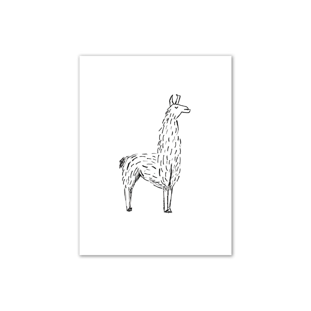 Black and White Llama Print