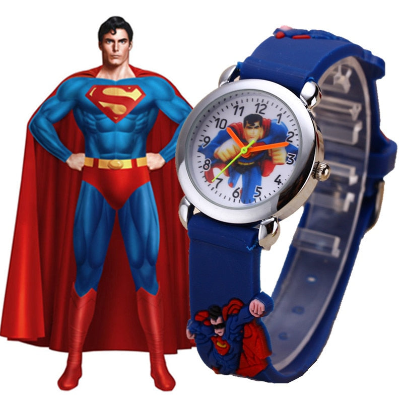 Children's Watches 3D Superman Cartoon Watch Casual Boys Sports Quartz Watches Kids Wristwatch Clock Hour Relojes Relogio Saat
