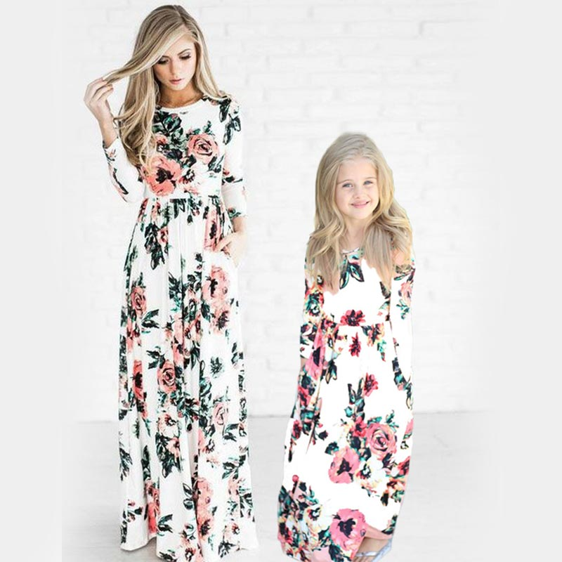 Bohemian Women Dresses for Mother Daughter Floral Little Girls Dresses Family Matching Dress Fashion Mom and Me Toddler Dress