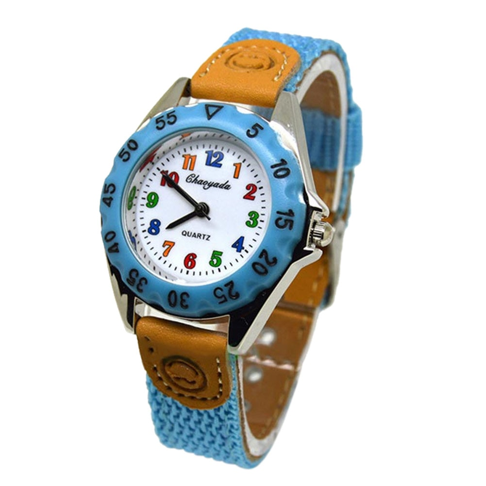Cute Boys Girls Quartz Watch Kids Children's Fabric Strap Student Time Clock Wristwatch Gifts LXH