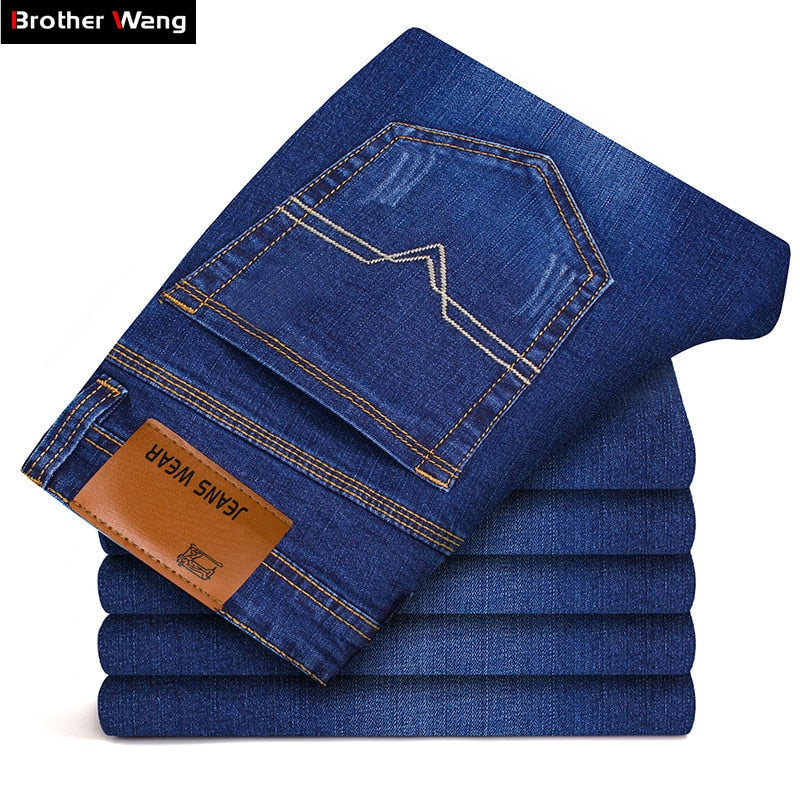 Brother Wang Brand 2018 New Men's Slim Elastic Jeans Fashion Business Classic Style Skinny Jeans Denim Pants Trousers Male 102