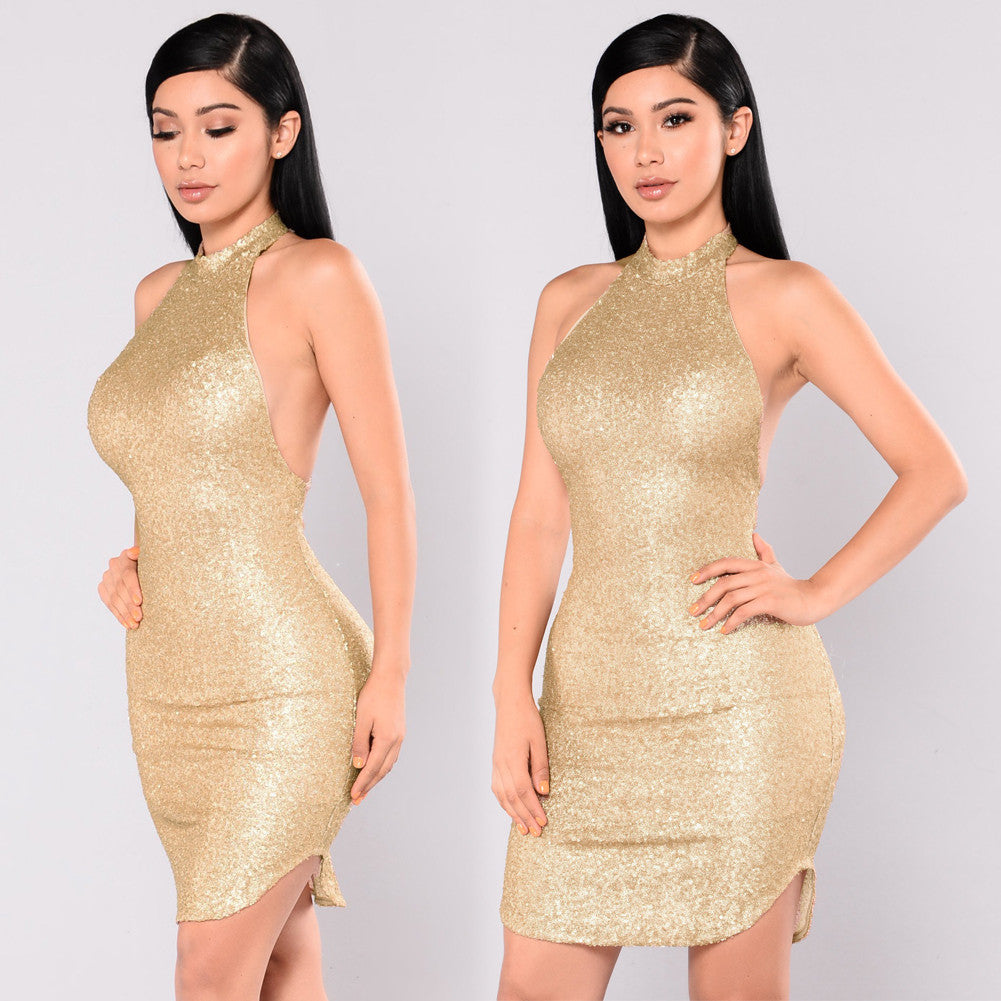 Sexy Women Sequin Sleeveless Halter Dress Bling Glitter Slim Party Dress Nightclub Mini Dress Beige