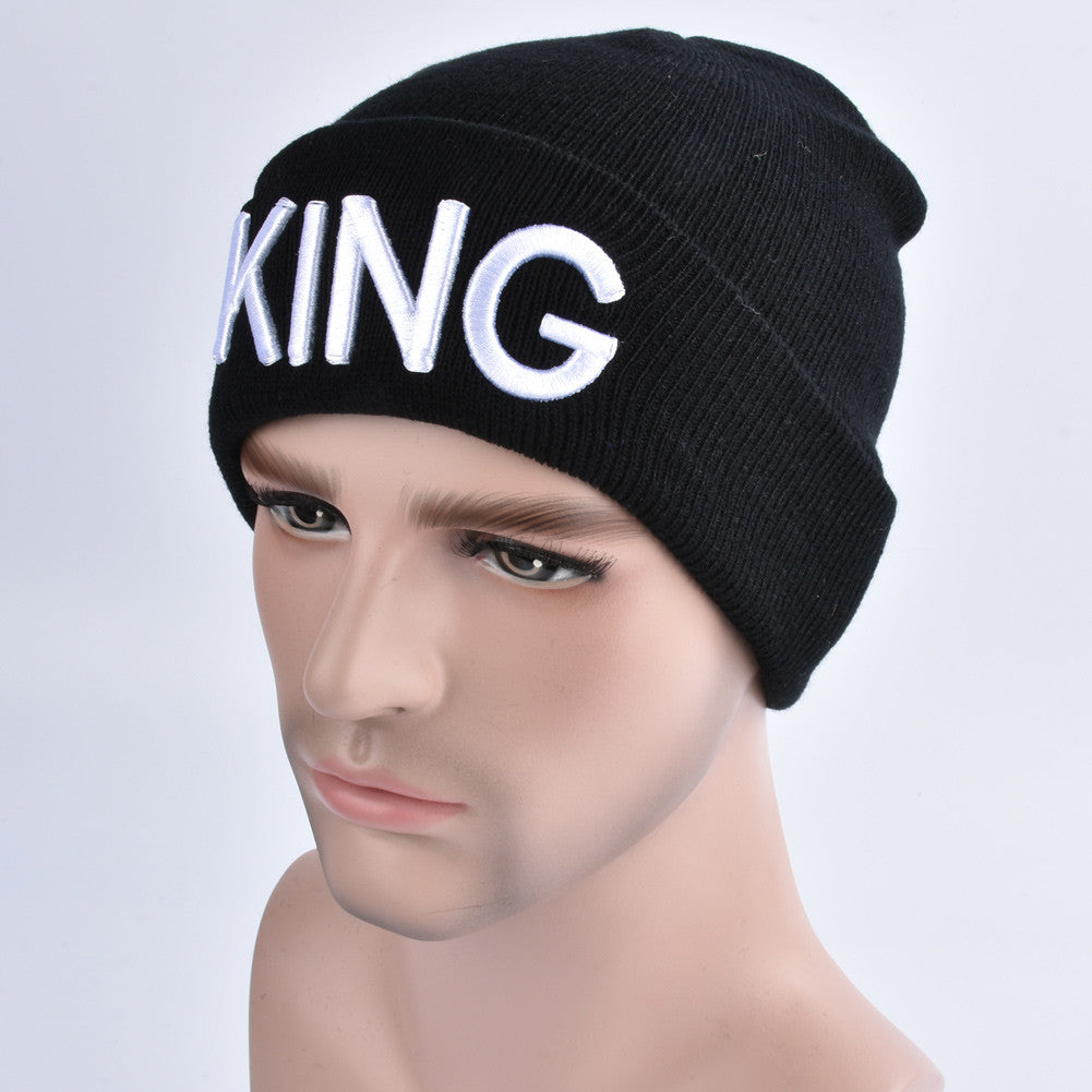 Men Women Knitted Beanies Hat Letter Embroidery Dome Autumn Winter Cap Warm Hat Headwear Black/White
