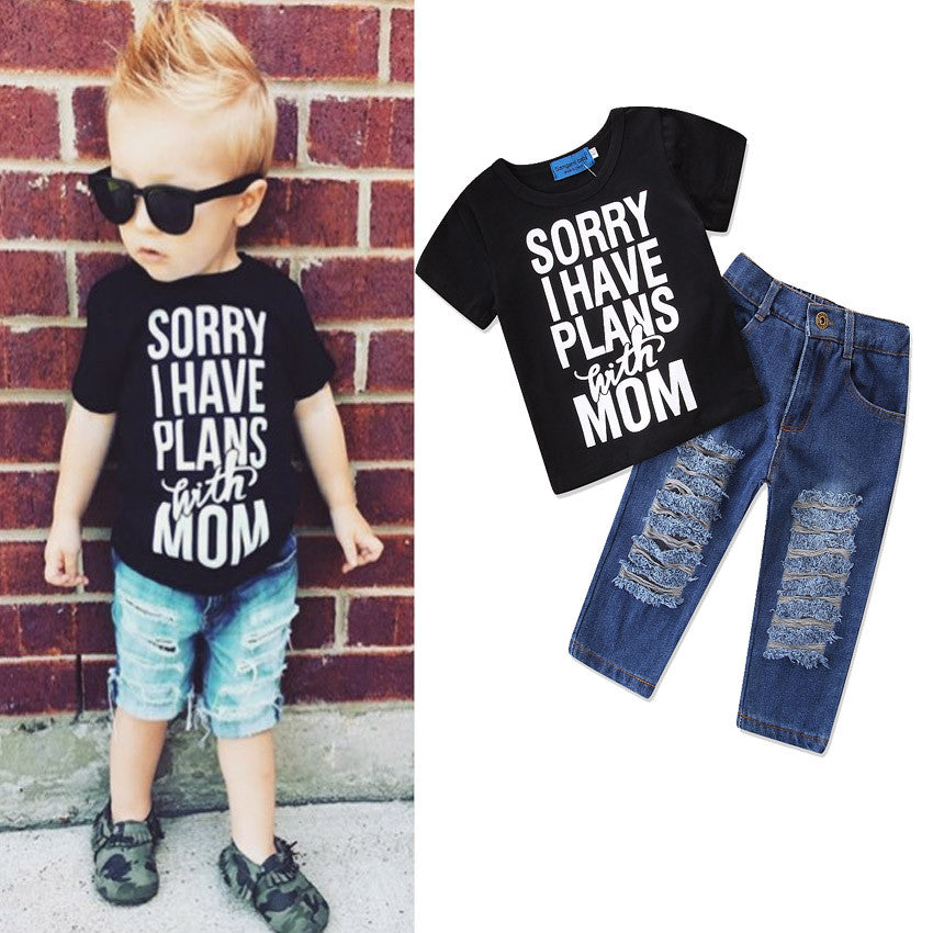 Boys Letter Clothes  Short Sleeve Suits