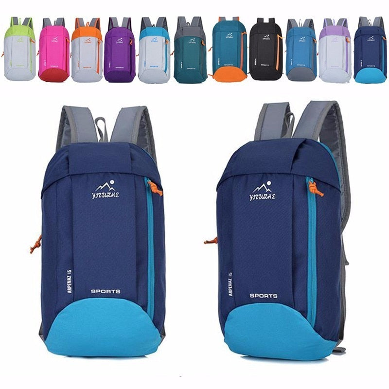 10L Outdoor Sports Light Weight Waterproof Backpack Travel Hiking Bag Zipper Adjustable Belt Camping Knapsack Men Women Child