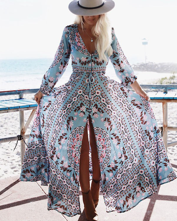 Runway Bohemian Holiday Long Vestidos 2017 V Neck Button High Hem Gypsy Print Maxi Hippie Flowing Dress Boho Women Flowing Dress