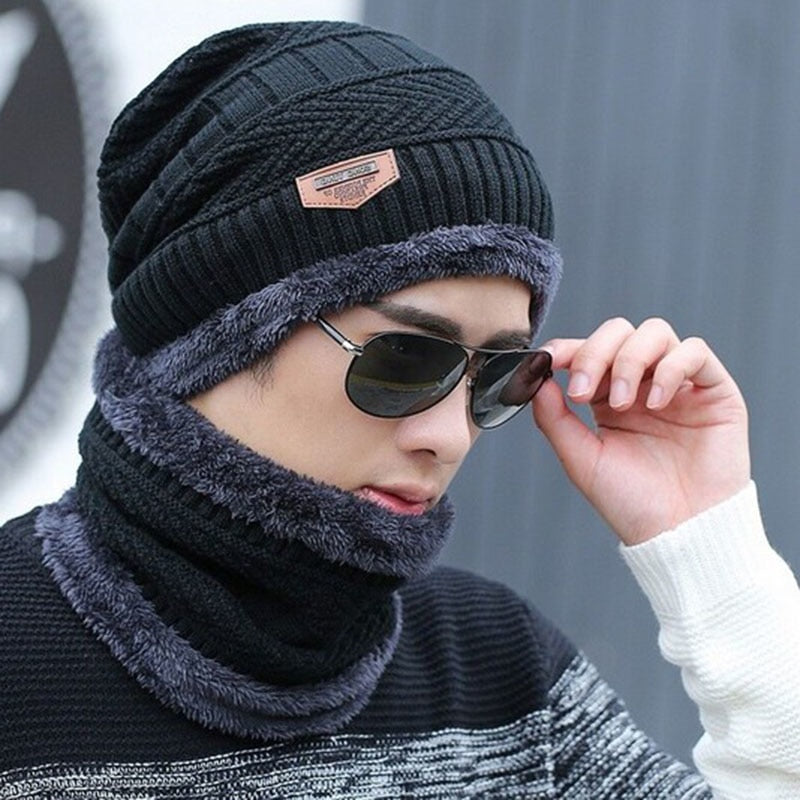 Neck warmer knitted hat scarf set fur Wool Lining Thick Warm Knit beanies balaclava Winter Hat For men women Cap Skullies bonnet