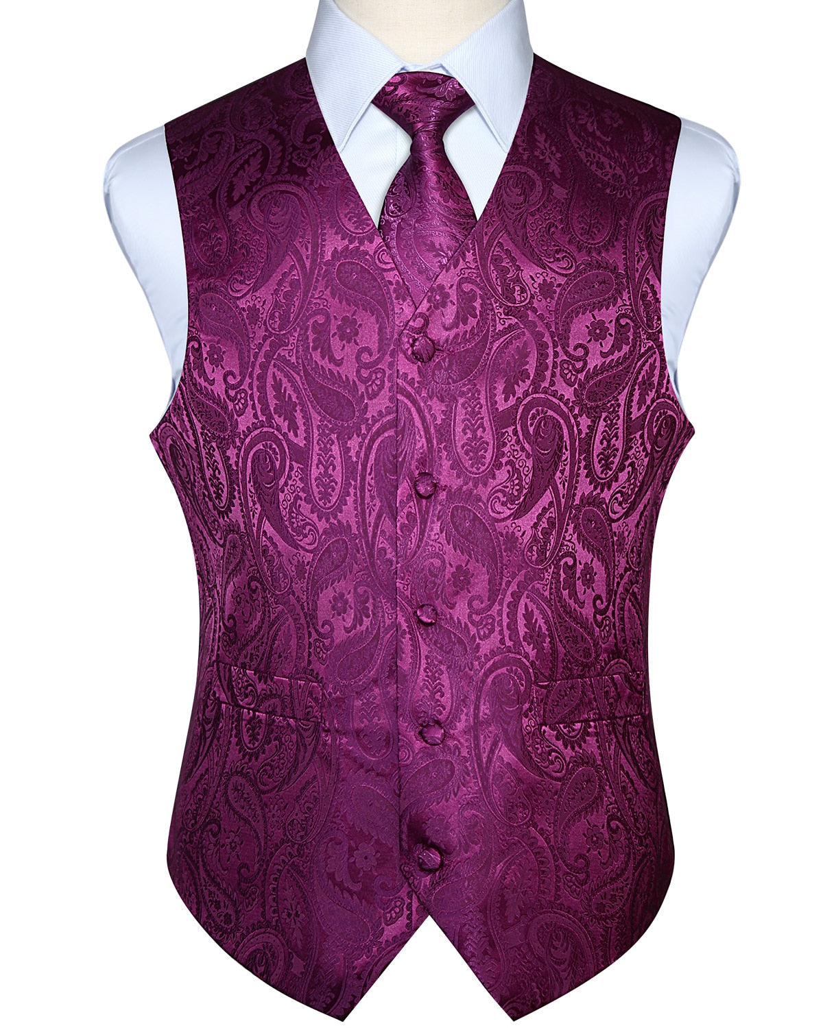 Men Waistcoat Vest Party Wedding Handkerchief Necktie Classic Paisley Plaid Floral Jacquard Pocket Square Tie Suit Set