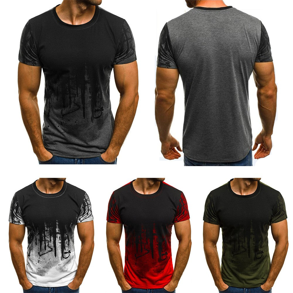 Mens Slim Fit O Neck Short Sleeve Muscle Tee Shirts Casual T-shirt Tops Blouse Gym Sports Fitness Running Blouse