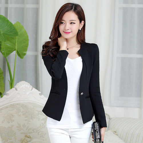 Xmas J61269 Candy Color Blazers Women Business Suit Blazer jacket women blazer mujer plus size korean Women