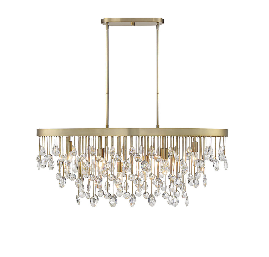 Livorno 8-Light Linear Chandelier in Noble Brass with Clear Hand Cut Crystal