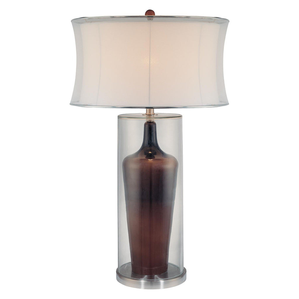 1-Light Table Lamp in Clear/Brown Inside with White Fabric Shade
