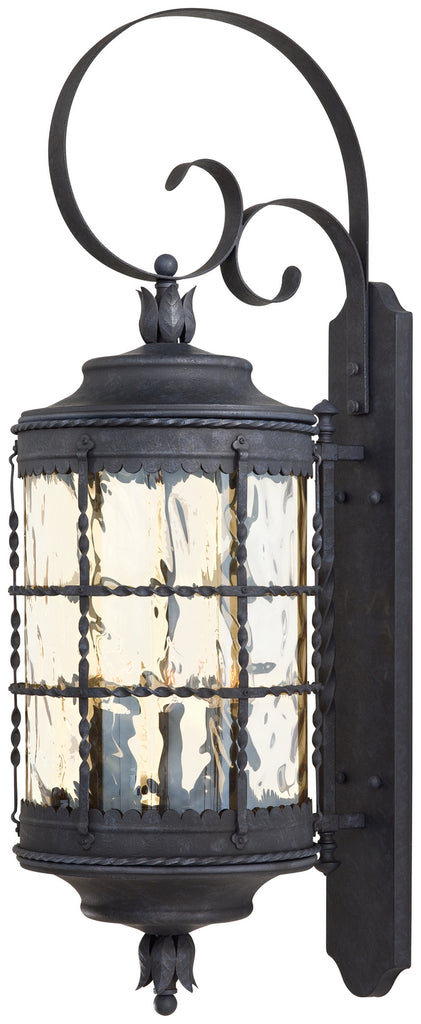 Mallorca 5-Light Wall Mount in Spanish Iron & Champagne Hammered Glass