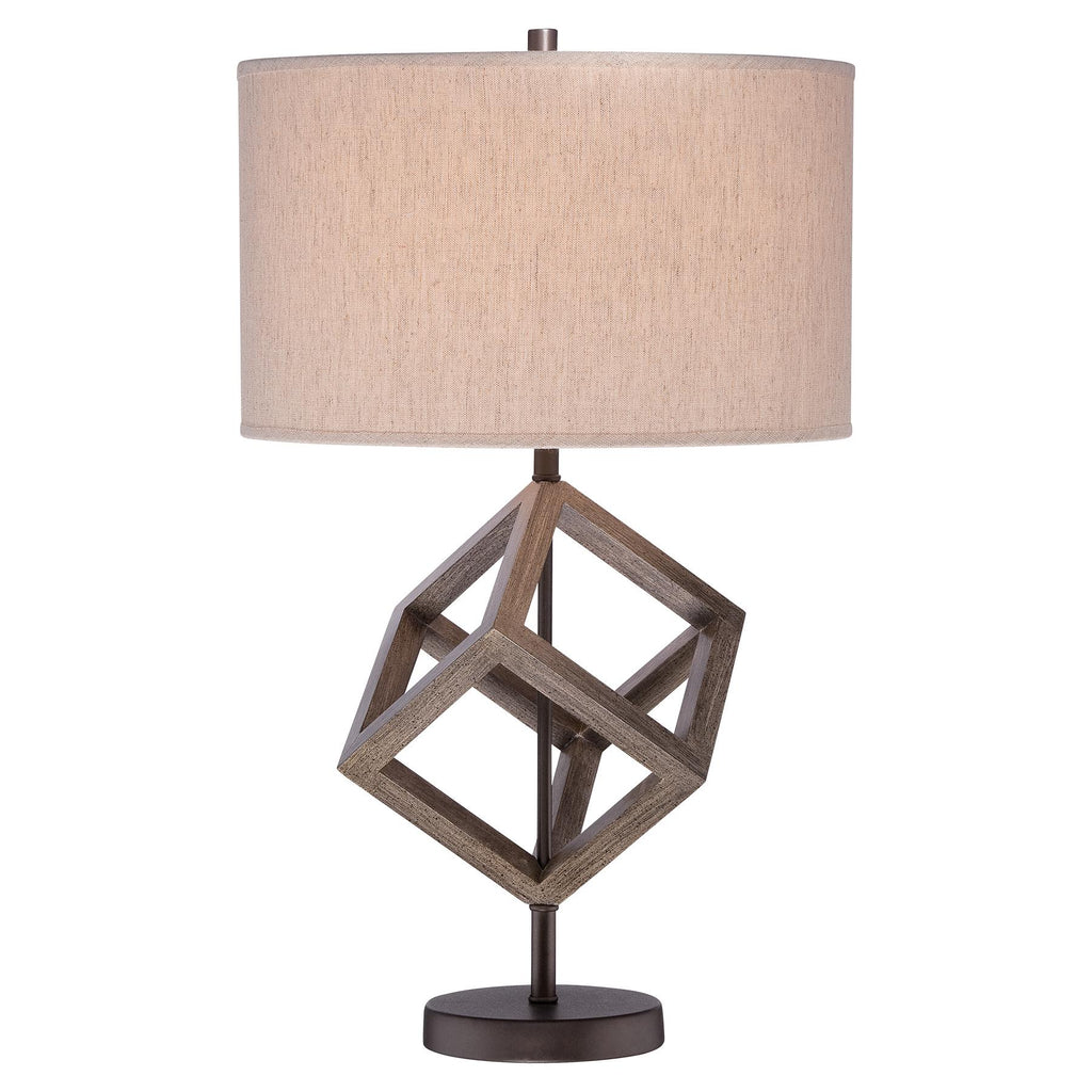 1-Light Table Lamp in Walnut with Oatmeal Linen Fabric Shade