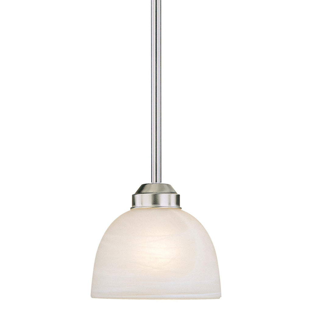 Paradox 1-Light Mini-Pendant in Brushed Nickel & Etched Marble Glass