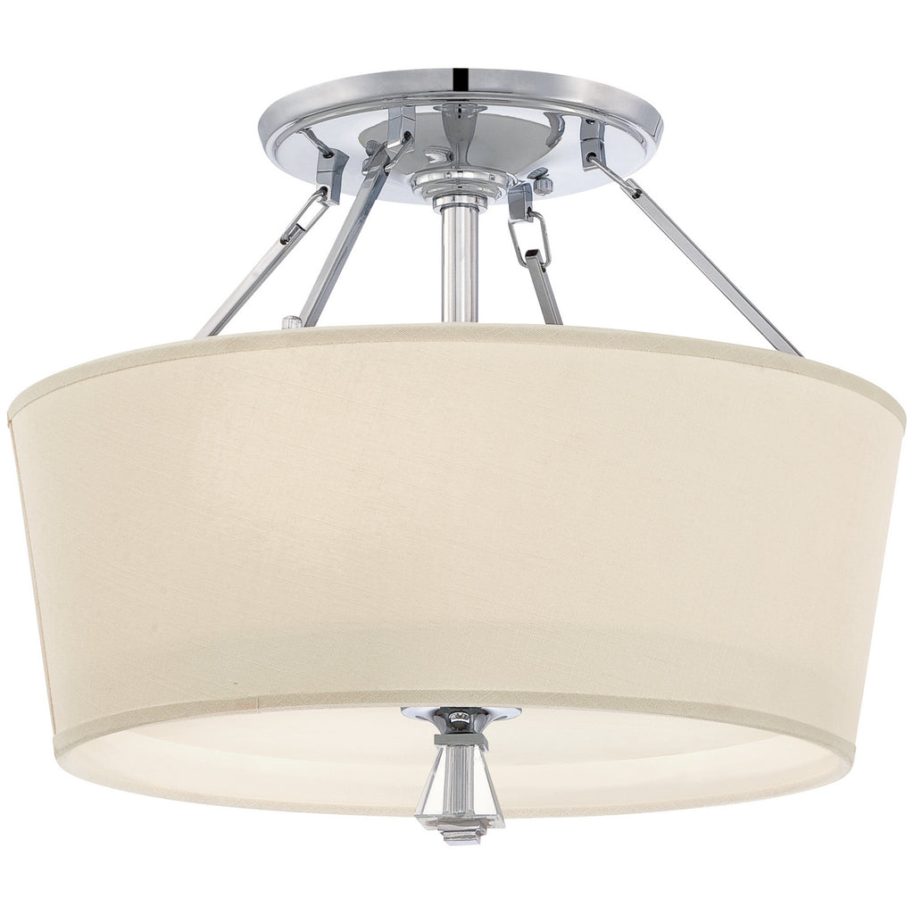Deluxe 3-Light Semi-Flush Mount in Polished Chrome