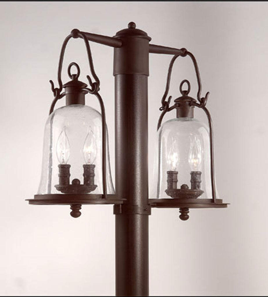 Owings Mill 4-Light Post Lantern Medium in Natural Bronze with Clear Seeded Glass