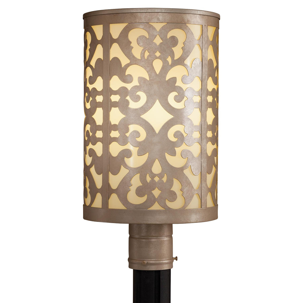 Nanti 1-Light Post Mount in Nanti Chanpagne Silver & Etched Vanilla Glass