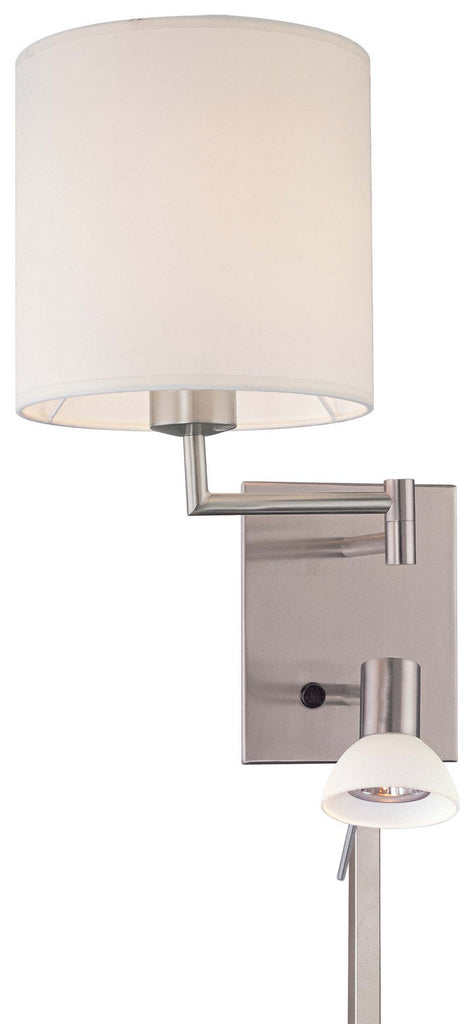 George's Reading Room 1 Light Swing Arm Wall Lamp With Reading Light in Brushed Nickel with White