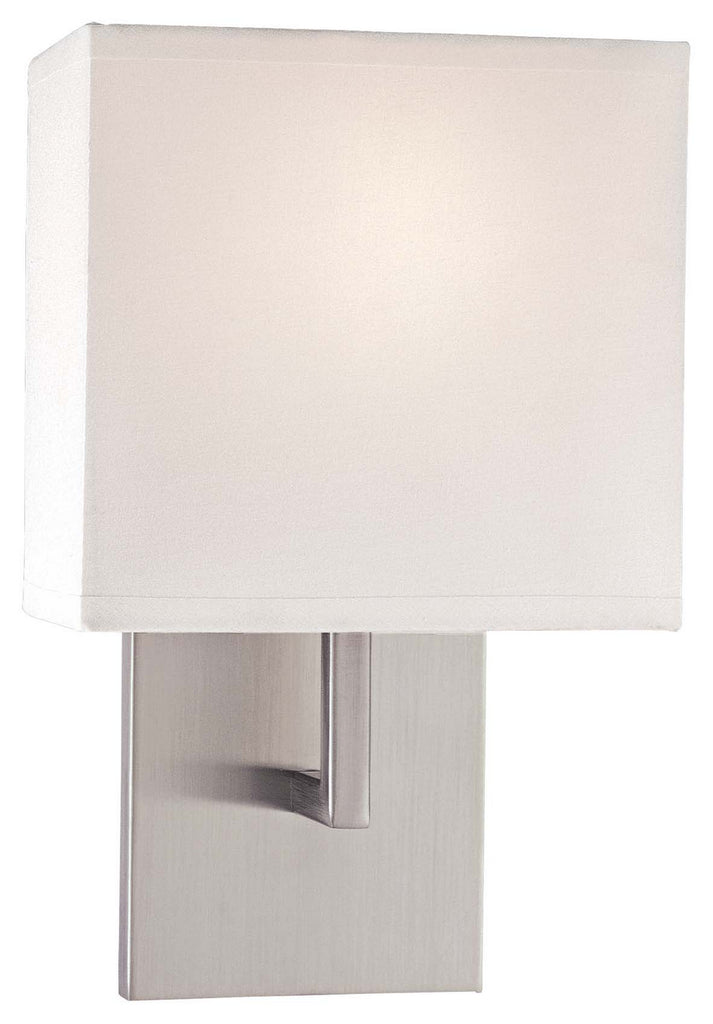 1 Light Wall Sconce in Brushed Nickel with White
