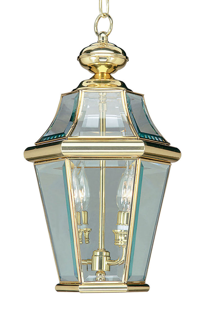 Georgetown 2 Light Outdoor Chain Lantern in Polished Brass