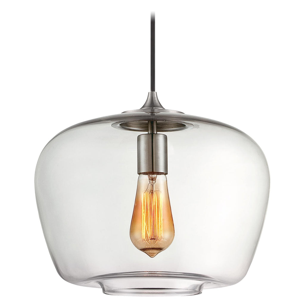 1-Light Mini-Pendant in Brushed Nickel & Clear Glass