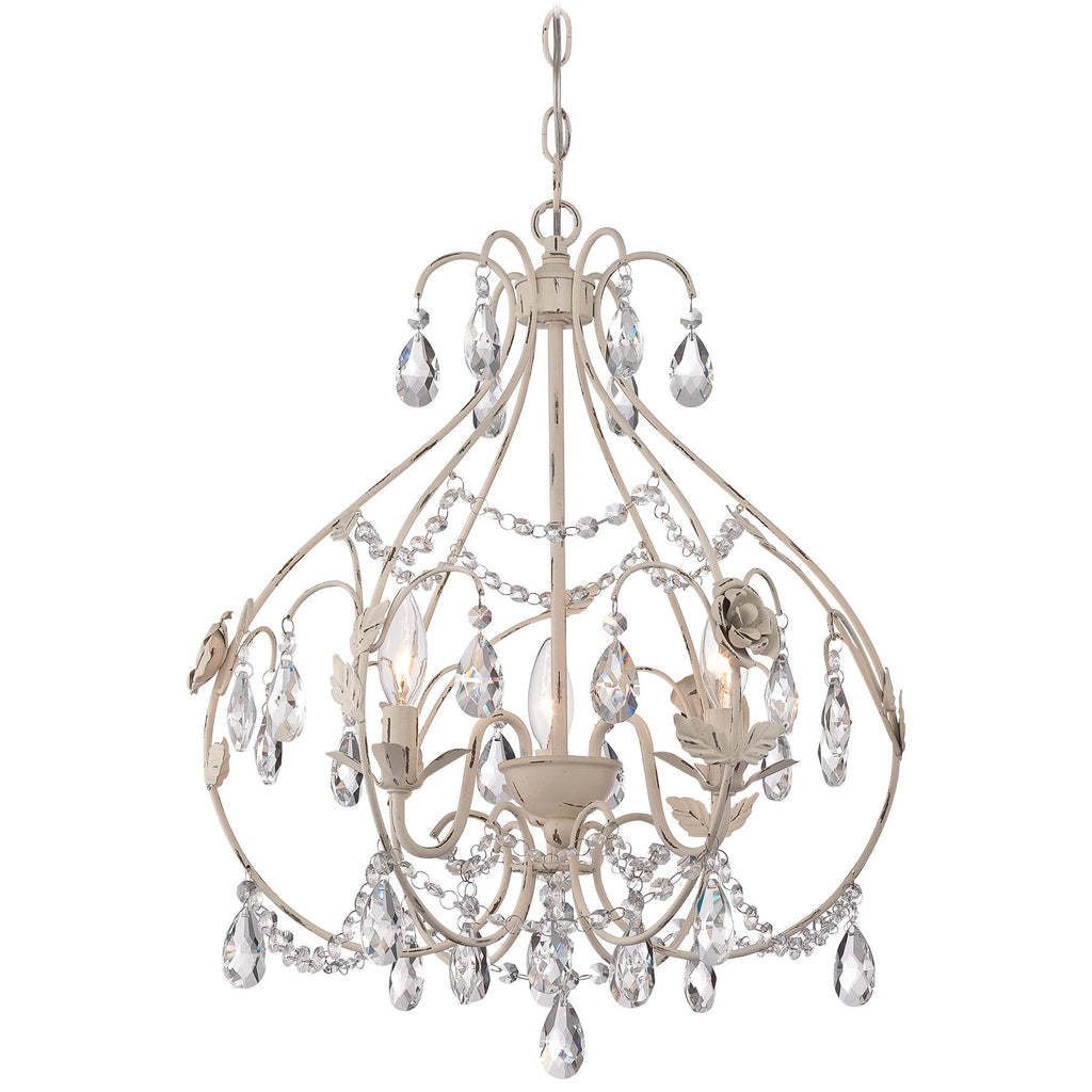 3-Light Mini-Chandelier in Provencal Blanc