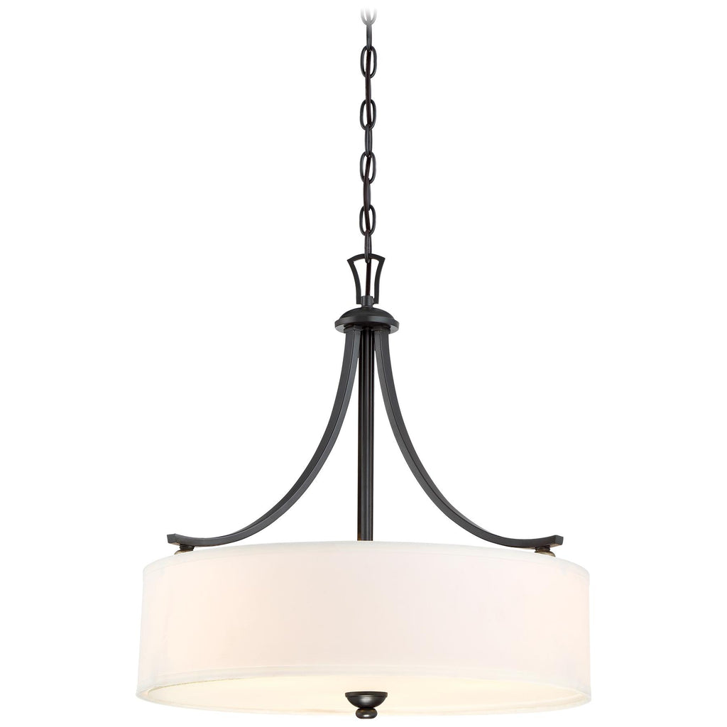 Shadowglen 3-Light Pendant in Lathan Bronze with Gold Highli with White Fabric Shade