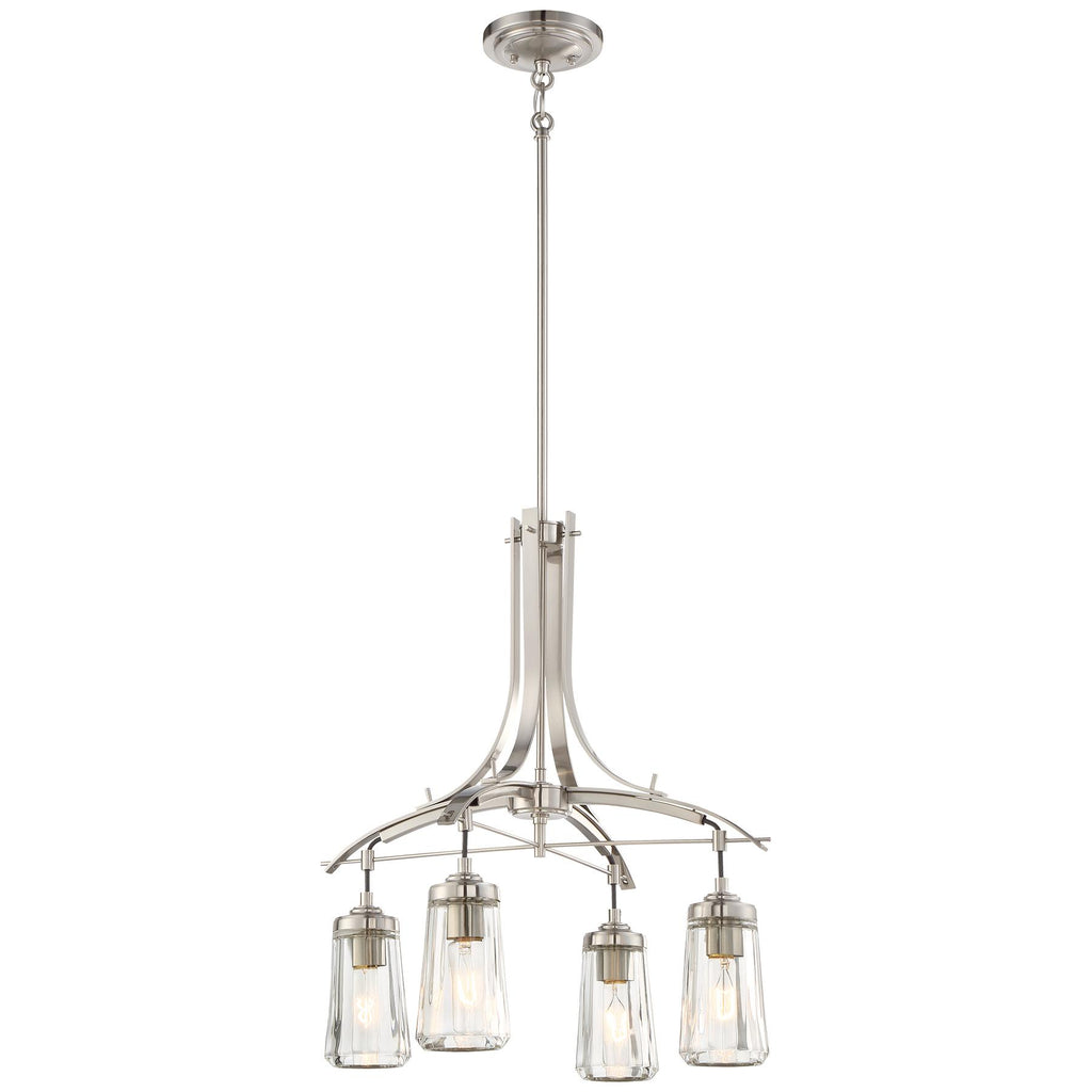 Poleis 4-Light Chandelier in Brushed Nickel & Clear Glass