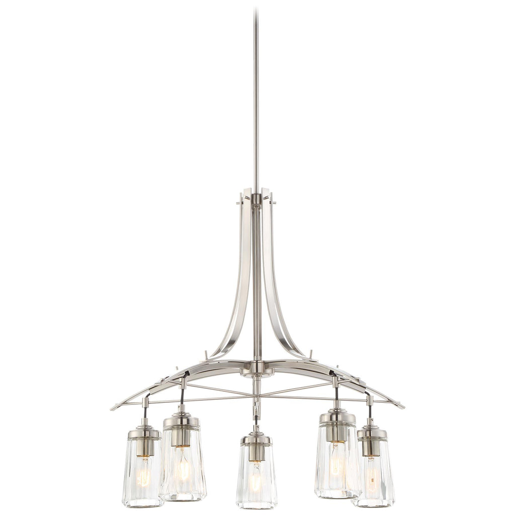 Poleis 5-Light Chandelier in Brushed Nickel & Clear Glass