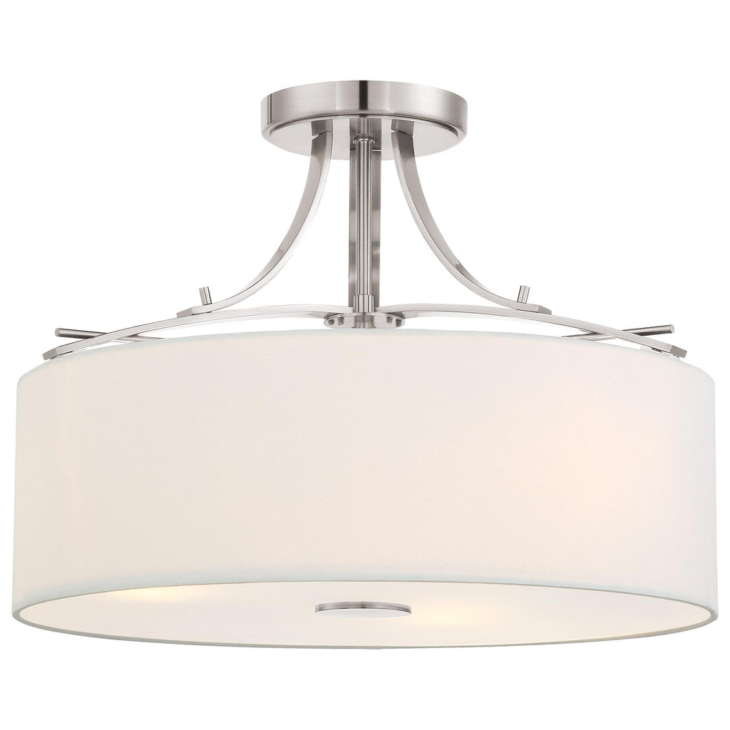 Poleis 3-Light Semi-Flush Mount in Brushed Nickel with White Linen Fabric Shade