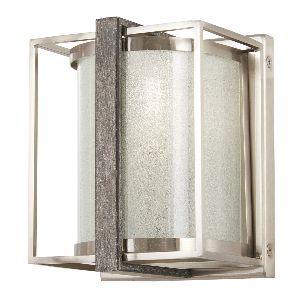 Tyson's Gate 1-Light Wall Sconce in Brushed Nickel with Shale Wood & White Iris Glass
