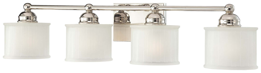 1730 Series 4-Light Bath Vanity in Polished Nickel & Etched-Box Pleat Glass