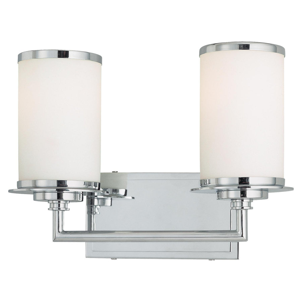 Glass Note 2-Light Bath Vanity in Chrome & White Opal Glass