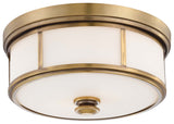 Harbour Point 2-Light Flush Mount in Liberty Gold & Etched Opal Glass