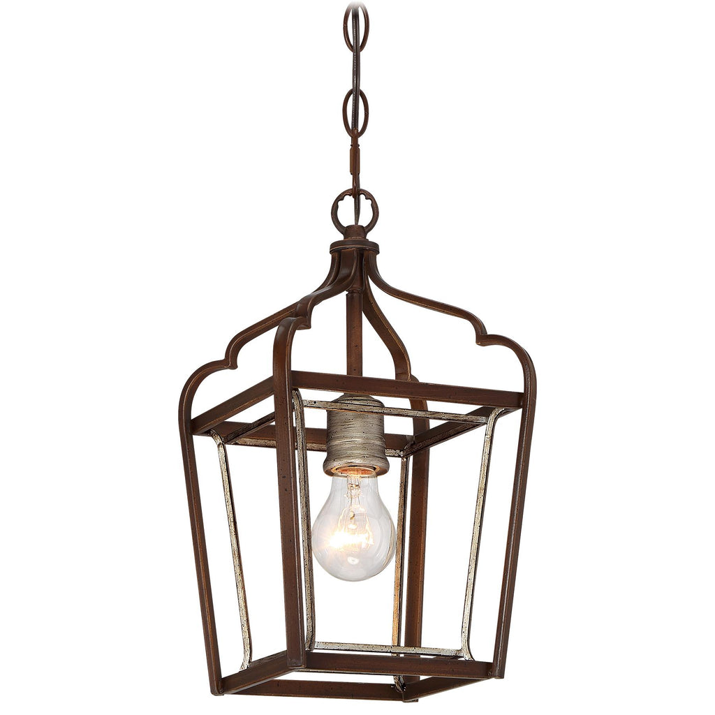 Astrapia 1-Light Mini-Pendant in Dark Rubbed Sienna with Aged Silver