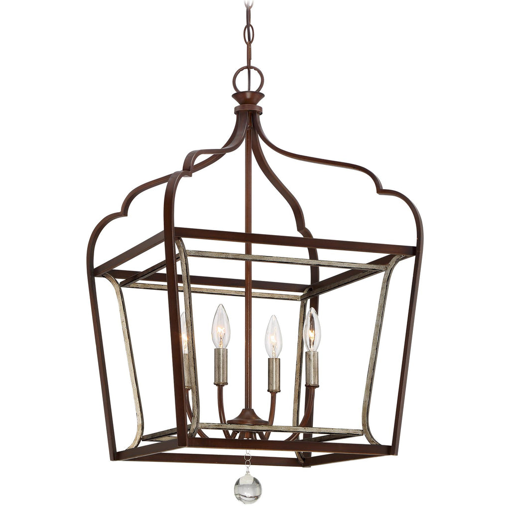 Astrapia 4-Light Foyer Pendant in Dark Rubbed Sienna with Aged Silver & Clear Acrylic Glass
