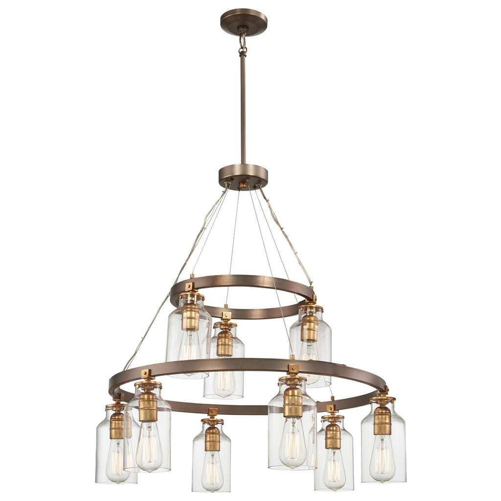 Morrow Chandelier in Harvard Court Bronze with Gold Highlights & Clear Glass