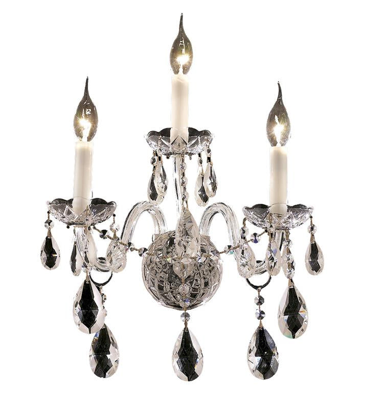 Alexandria 3-Light Wall Sconce in Chrome with Clear Royal Cut Crystal