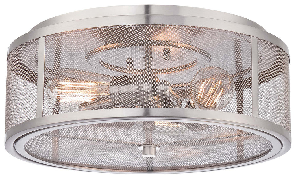 Downtown Edison 3-Light Flush Mount in Brushed Nickel with Brushed Nickel Shade