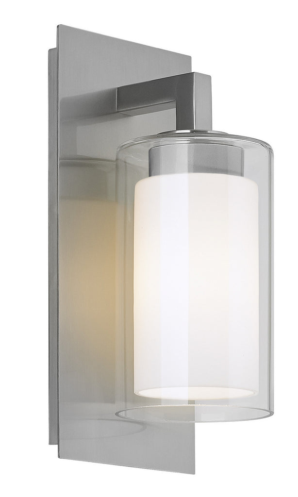 Salinger 1-Light Outdoor Lantern in Brushed Steel with Opal Etched Glass & Clear Glass