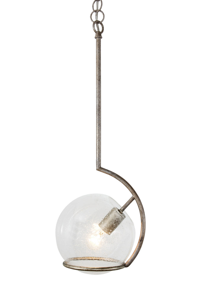 Watson 1 Light Mini Pendant in Silver Age with Recycled Clear Seedy Glass