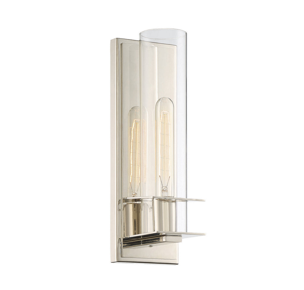 Hartford 1-Light Sconce in Polished Nickel with Clear Glass
