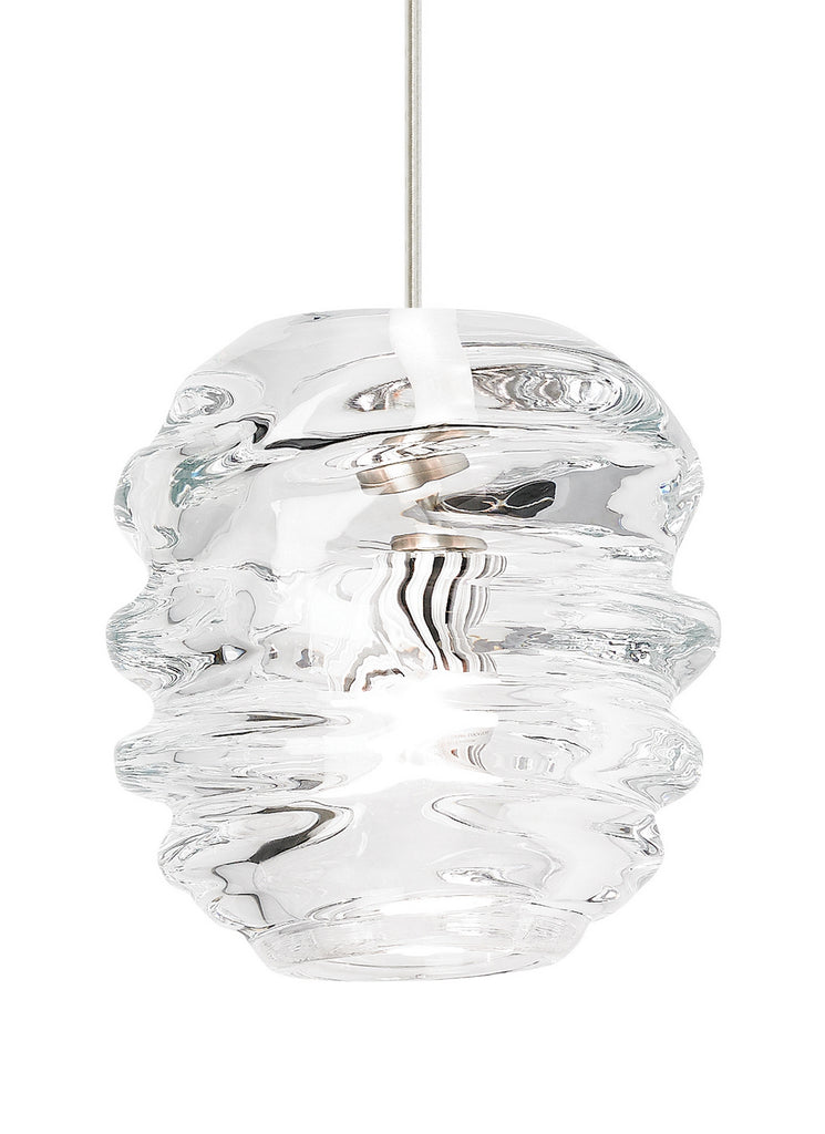 Audra Pendant in Satin Nickel with Clear