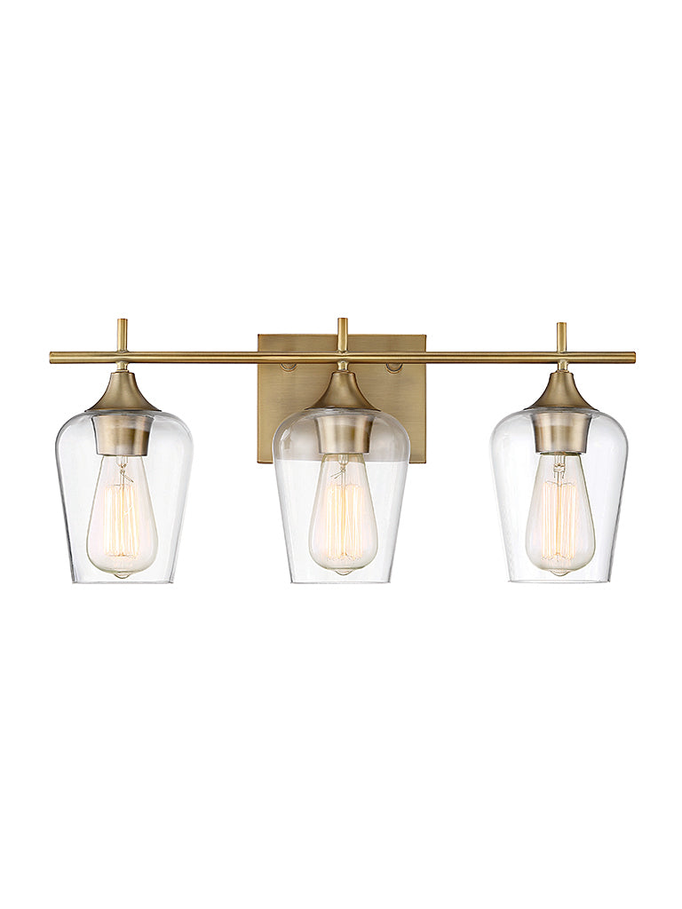 Octave 3-Light Bath Sconce in Warm Brass