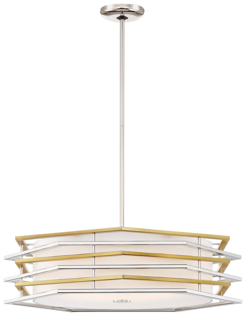 Levels LED Pendant in Polished Nickel & Honey Gold with White Linen